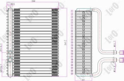 ABAKUS 0380200001 - Evaporator, air conditioning detali.lv