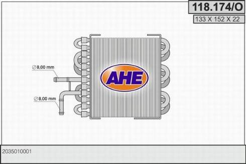 AHE 118.174/O - Radiator, engine cooling detali.lv