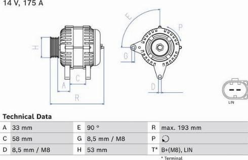 BOSCH 0986081850 - Alternator detali.lv