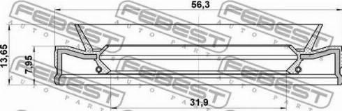 Febest 95HEY33560814C - Shaft Seal, automatic transmission detali.lv
