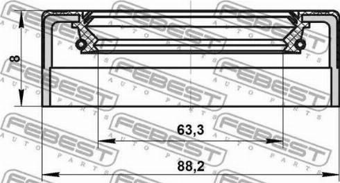 Febest 95NES65880808C - Shaft Seal, manual transmission detali.lv