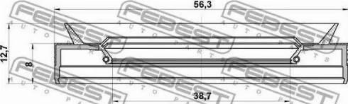 Febest 95PES40560813C - Shaft Seal, automatic transmission detali.lv