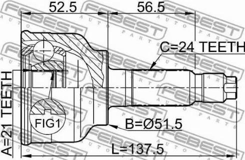 Febest 0510004 - Joint Kit, drive shaft detali.lv