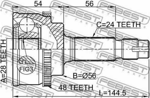 Febest 0110NLP10A48 - Joint Kit, drive shaft detali.lv