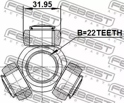 Febest 0216B10 - Tripod Hub, Drive shaft detali.lv
