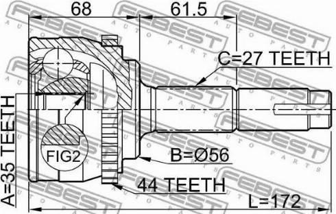 Febest 0210070A44 - Joint Kit, drive shaft detali.lv