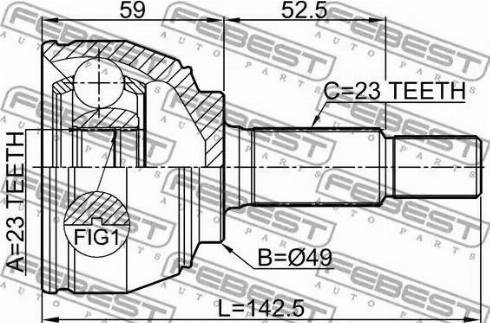 Febest 0210E11E - Joint Kit, drive shaft detali.lv