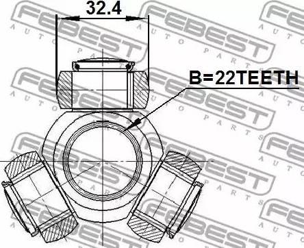 Febest 2216SPA - Tripod Hub, Drive shaft detali.lv