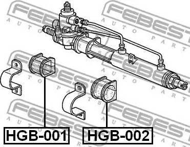 Febest HGB001 - Mounting, steering gear detali.lv
