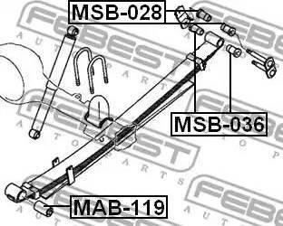 Febest MSB036 - Bush, leaf spring detali.lv