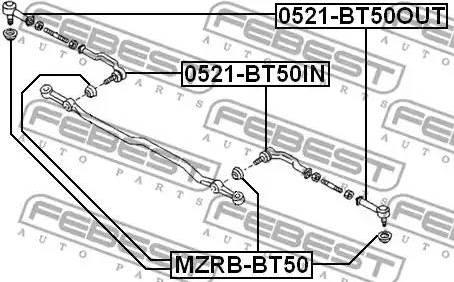 Febest MZRBBT50 - Repair Kit, tie rod end detali.lv