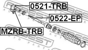 Febest MZRBTRB - Repair Kit, tie rod end detali.lv