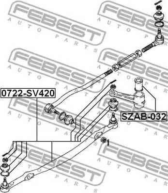 Febest SZAB032 - Bush, steering control arm detali.lv