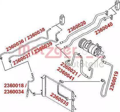Metzger 2360039 - High-/Low Pressure Line, air conditioning detali.lv
