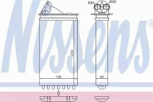 Nissens 72655 - Heat Exchanger, interior heating detali.lv